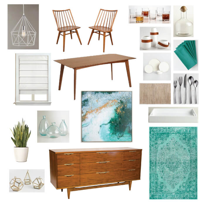 This cool California midcentury modern dining room plan is my blueprint for the Spring 2017 One Room Challenge. Get all the details for this trendy dining room and follow along in the ORC!
