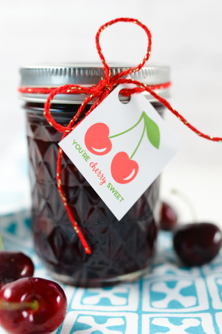 Cherry Bourbon Compote Free Printable Gift Tag Hey