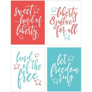 Celebrate freedom with these 4th of July Quotes! Each of these four printable quotes has a message of liberty. Perfect for Memorial Day or 4th of July decor.
