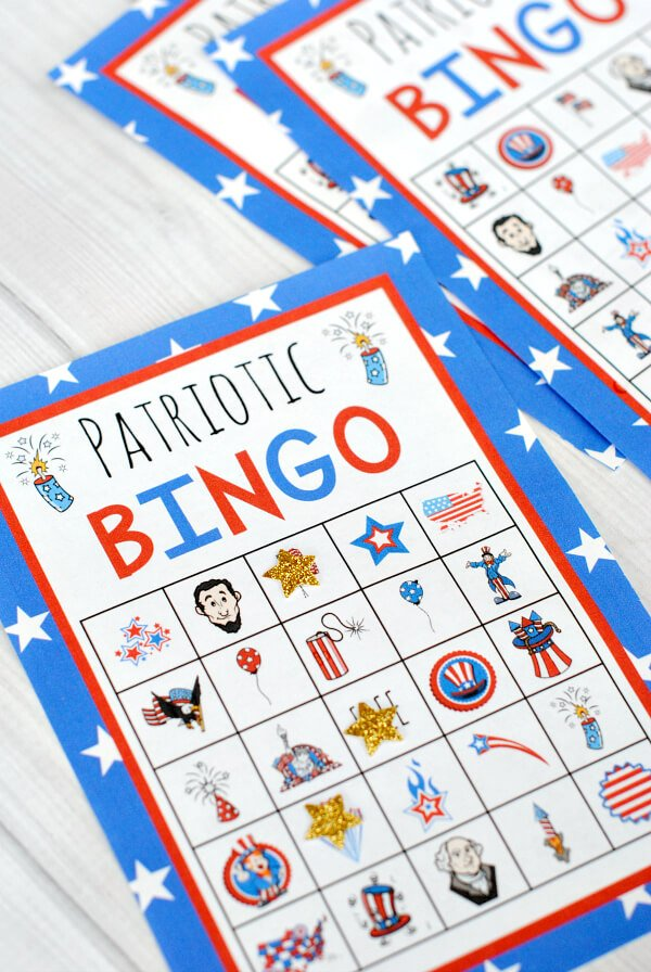 Crzy Little Projects - Patriotic Bingo - Celebrate the 4th of July with these free patriotic printables! Get more than 20 red, white, and blue printables from your favorite bloggers!