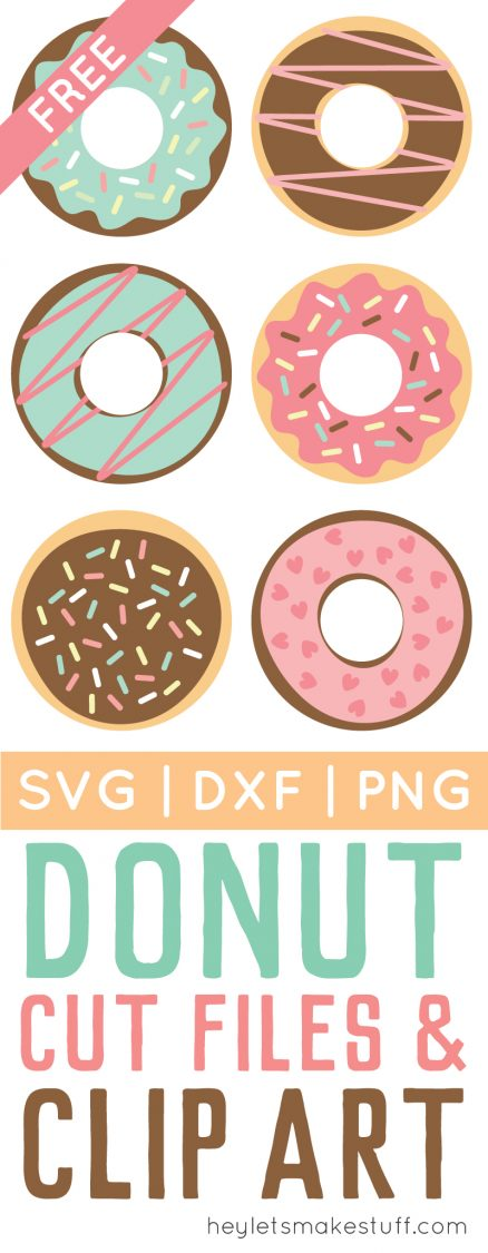 Celebrate National Donut Day (or any day!) with these free donut SVG / DXF cut files and PNG clip art! Nine yummy designs for all of your projects.