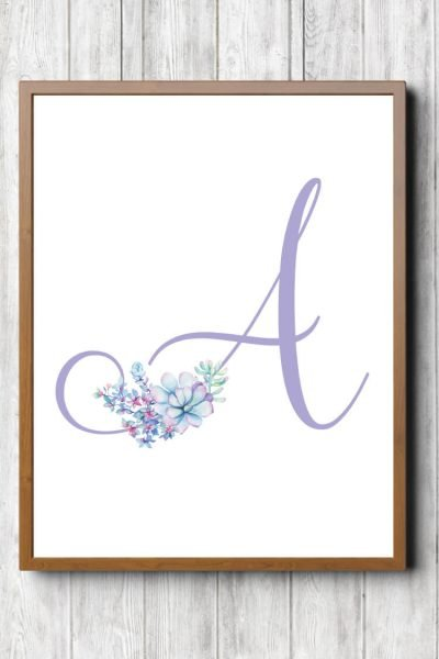 Free Printable Purple Succulent Nursery Initials