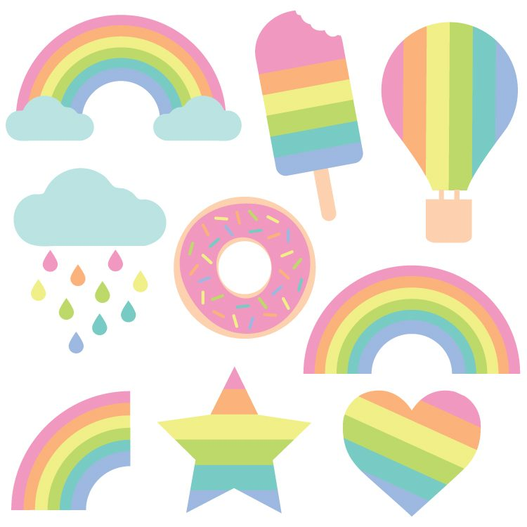 Pastel Rainbow Cut Files + Clip Art - Freebie Friday - Hey ...