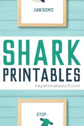 Download and print this adorable shark printables! You'll love these deliciously funny puns as much as the totally modern sharks -- perfect for Shark Week!