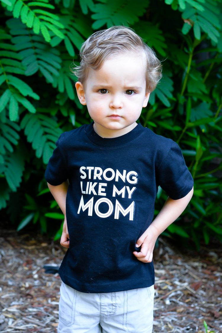 Download this free Strong Like My Mom t-shirt decal so your kids can tell the world you are a strong mom! Cut on a Cricut Explore or Silhouette Cameo.