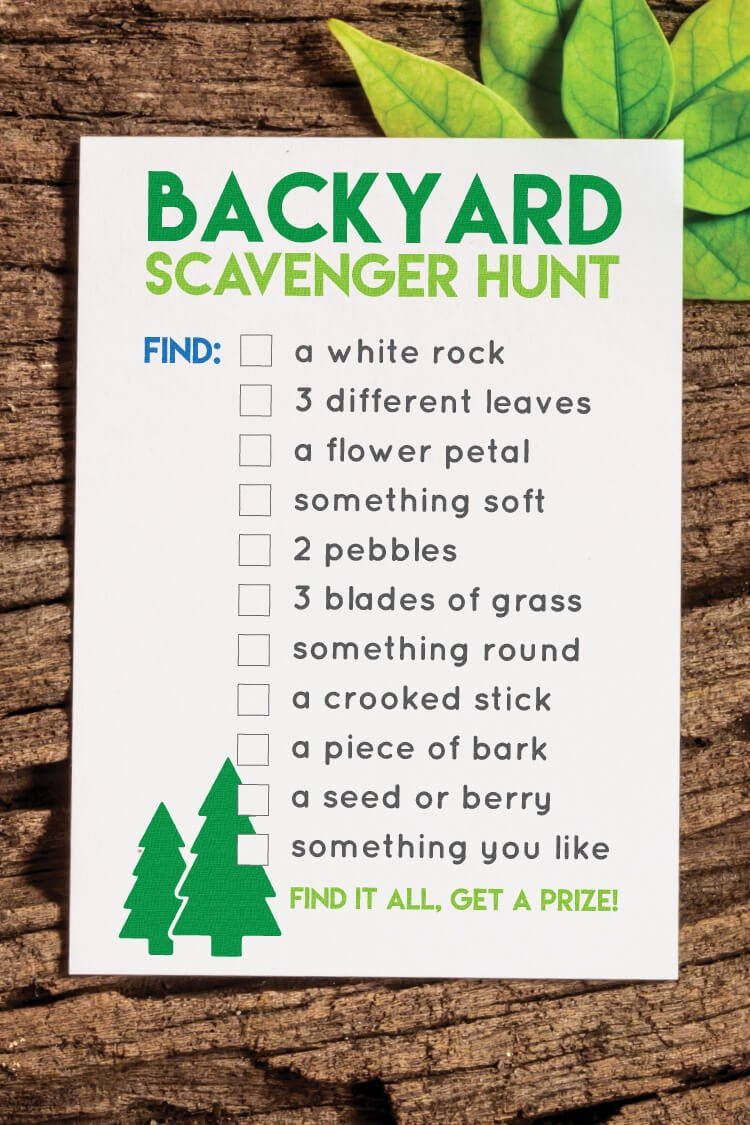 Printable Back Yard Scavenger Hunt - Hey, Let\'s Make Stuff