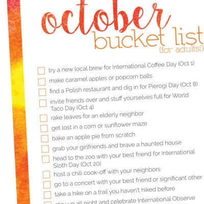 October Bucket List – 2017