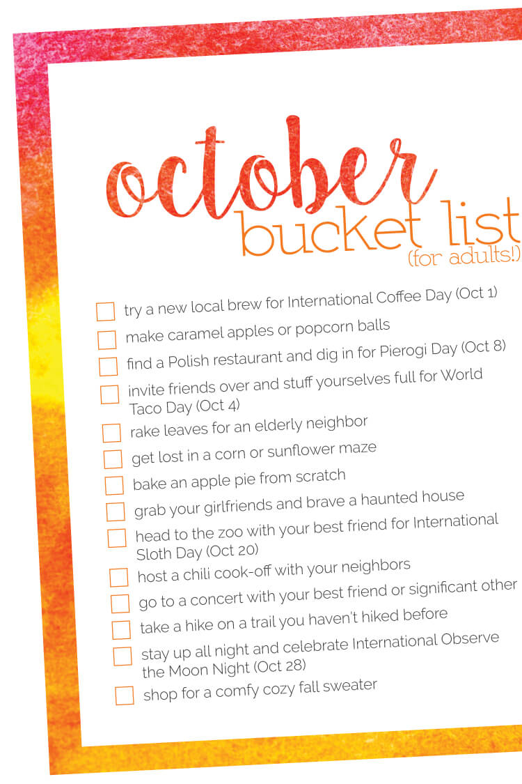 Fall is in the air! How about a bunch of ideas for you and your best friends to tackle in October with this October Bucket List!
