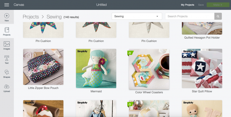 screenshot of Cricut Design Space sewing projects