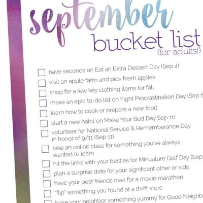 September Bucket List – 2017