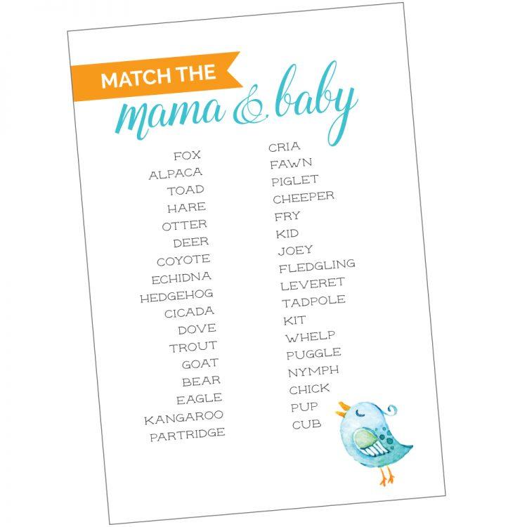 Free Printable Baby Shower Game Animal Matching Hey Lets Make