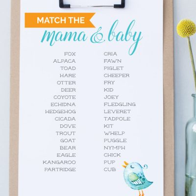 Free Printable Baby Shower Game — Animal Matching