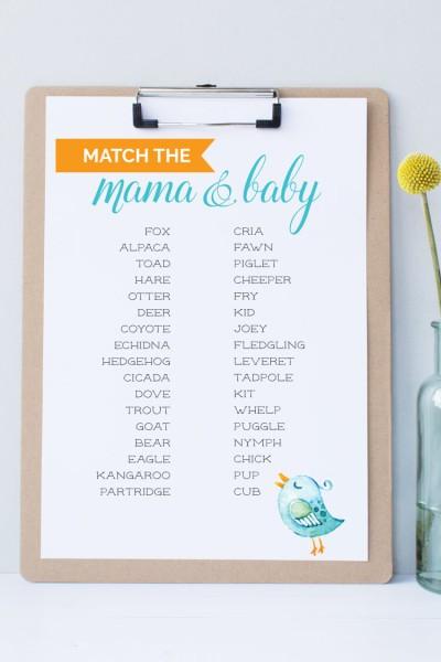 Free Printable Baby Shower Game — Animal Matching