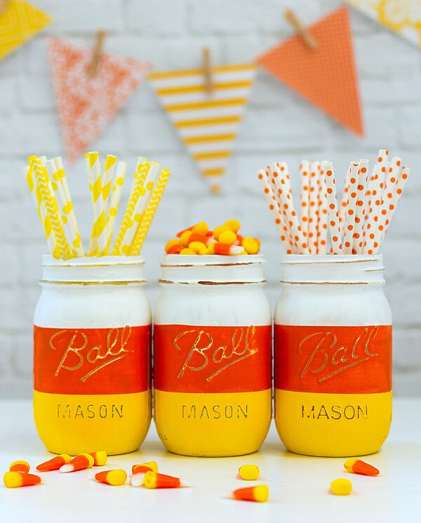 Candy Corn Mason Jars - Mason Jar Crafts