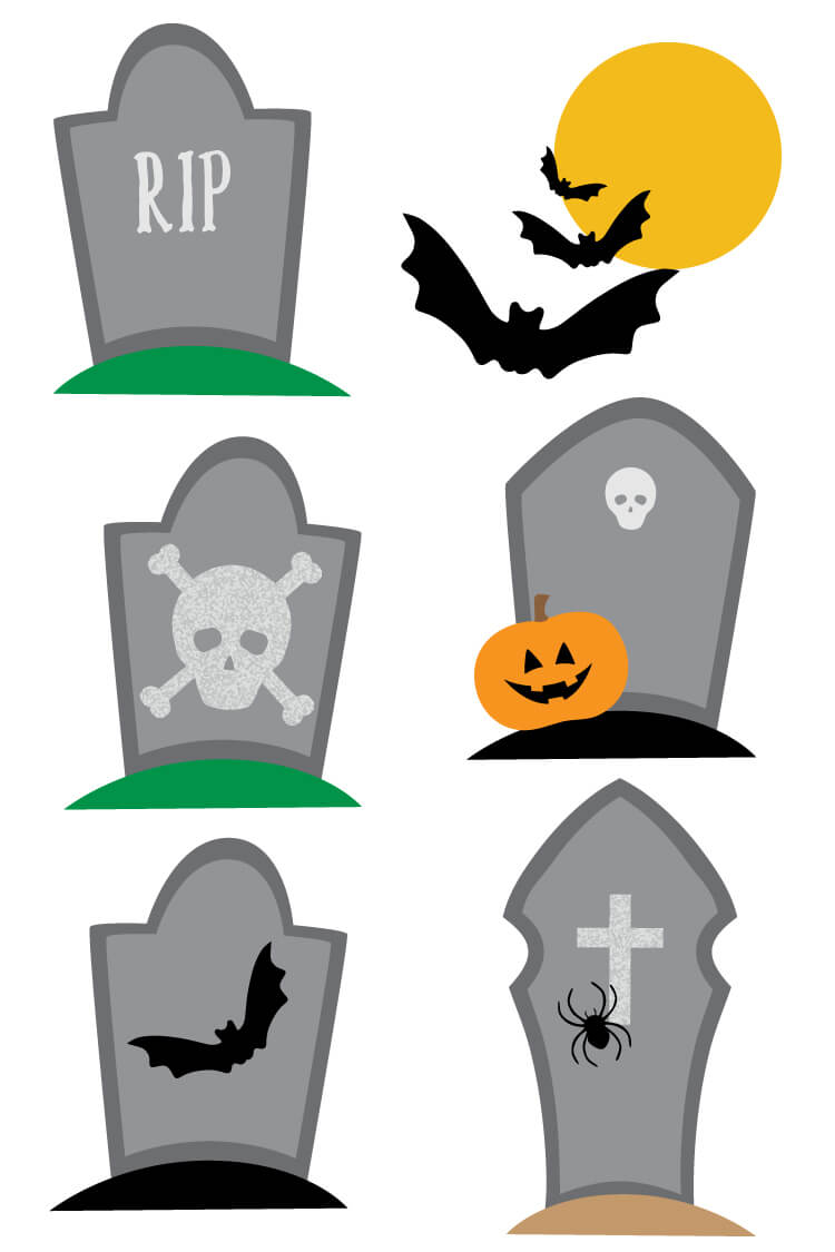 Rest in peace! Download these haunted graveyard PNG clip art files! Nine designs for all of your spooky Halloween projects.