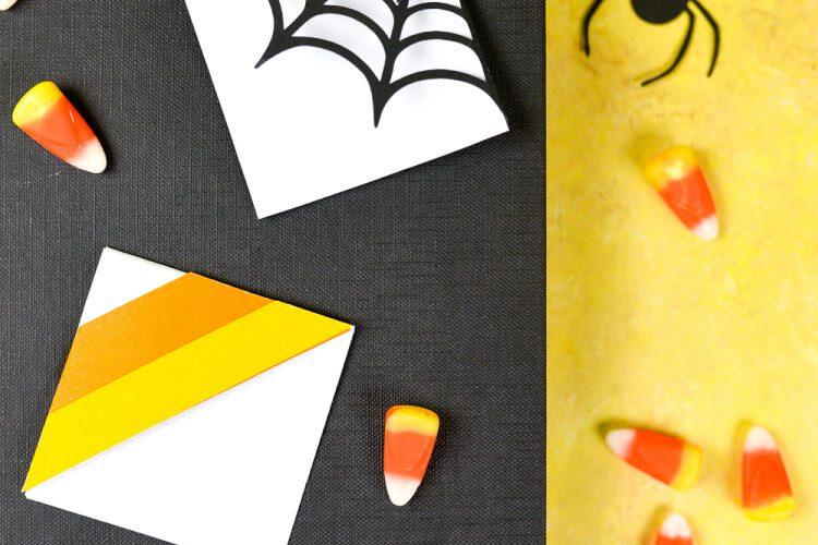 Halloween Bookmarks – Candy Corn + Spider Web