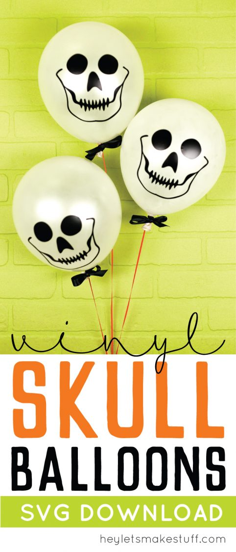 These easy skull balloons are a fun Halloween party decoration! Whip up a bunch using your Cricut or other cutting machine with these free SVG cut files.