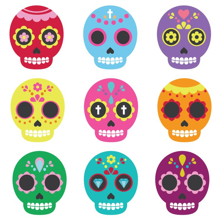 Celebrate Dia De Los Muertos With These Brightly Colored Sugar Skull Clip Art Files