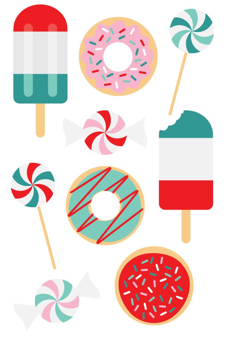 Make your Christmas extra delicious this year with these brightly colored SVG cut files and clip art! Ten yummy designs for all of your holiday projects.