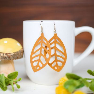 Faux Suede Leaf Earrings