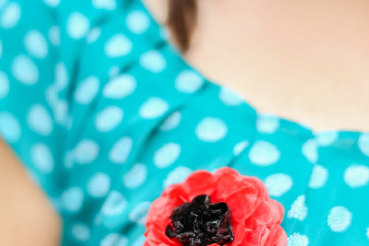 Remembrance Tissue Paper Poppy Pin