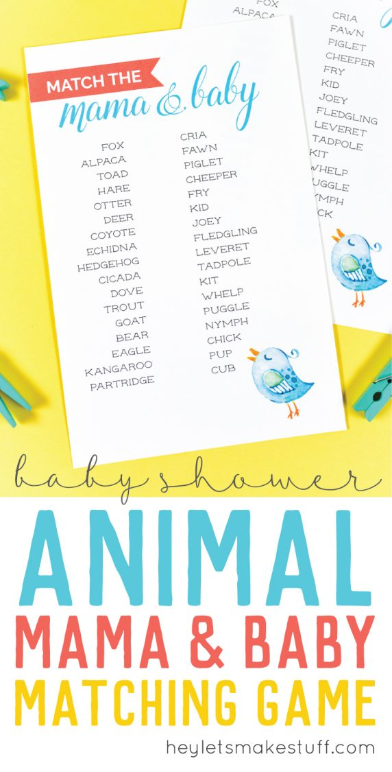 Free Printable Baby Shower Game Match The Mama To Her Baby