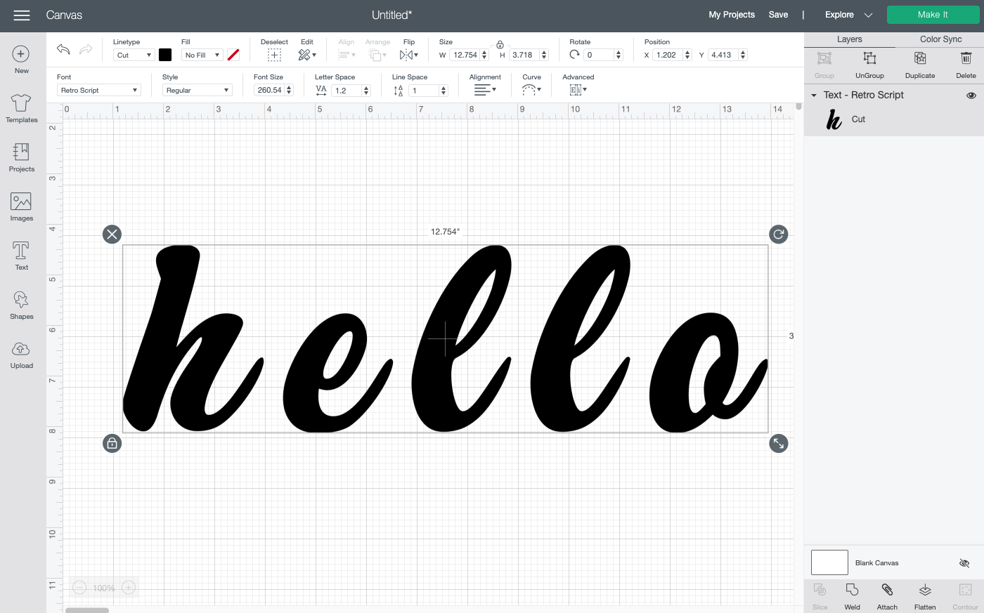 "Cricut Design Space: Type your word ""hello"""
