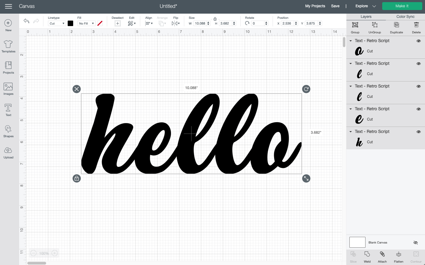 Cricut Design Space: Use the font tools to align your letters.