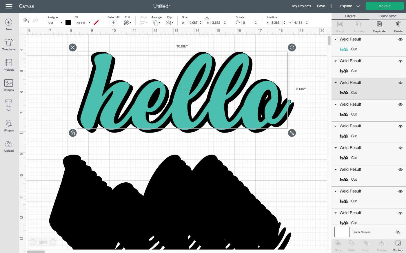 Cricut Design Space: continue until you see the outline starting to form around the word.