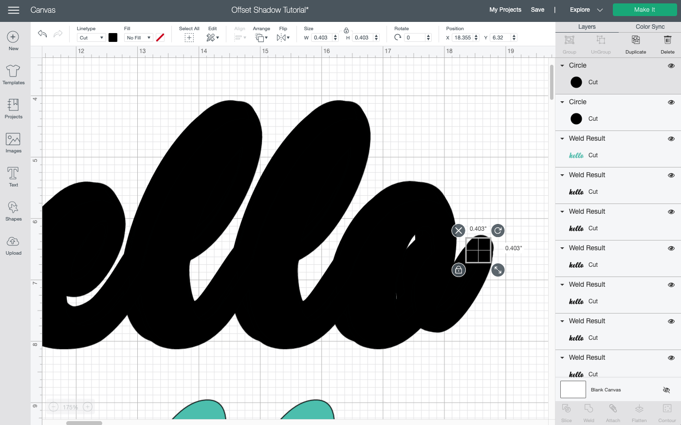 Cricut Design Space: use shapes to help smooth out the outline