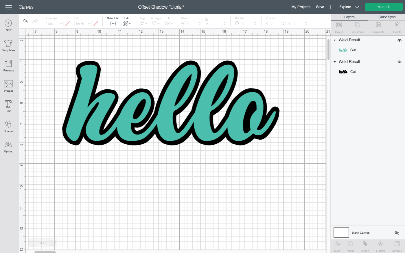 Cricut Design Space: Final project, HELLO with outline behind it