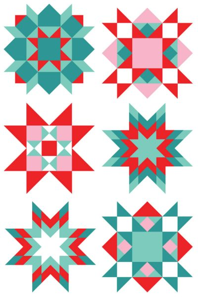 Christmas Quilt Square Clip Art