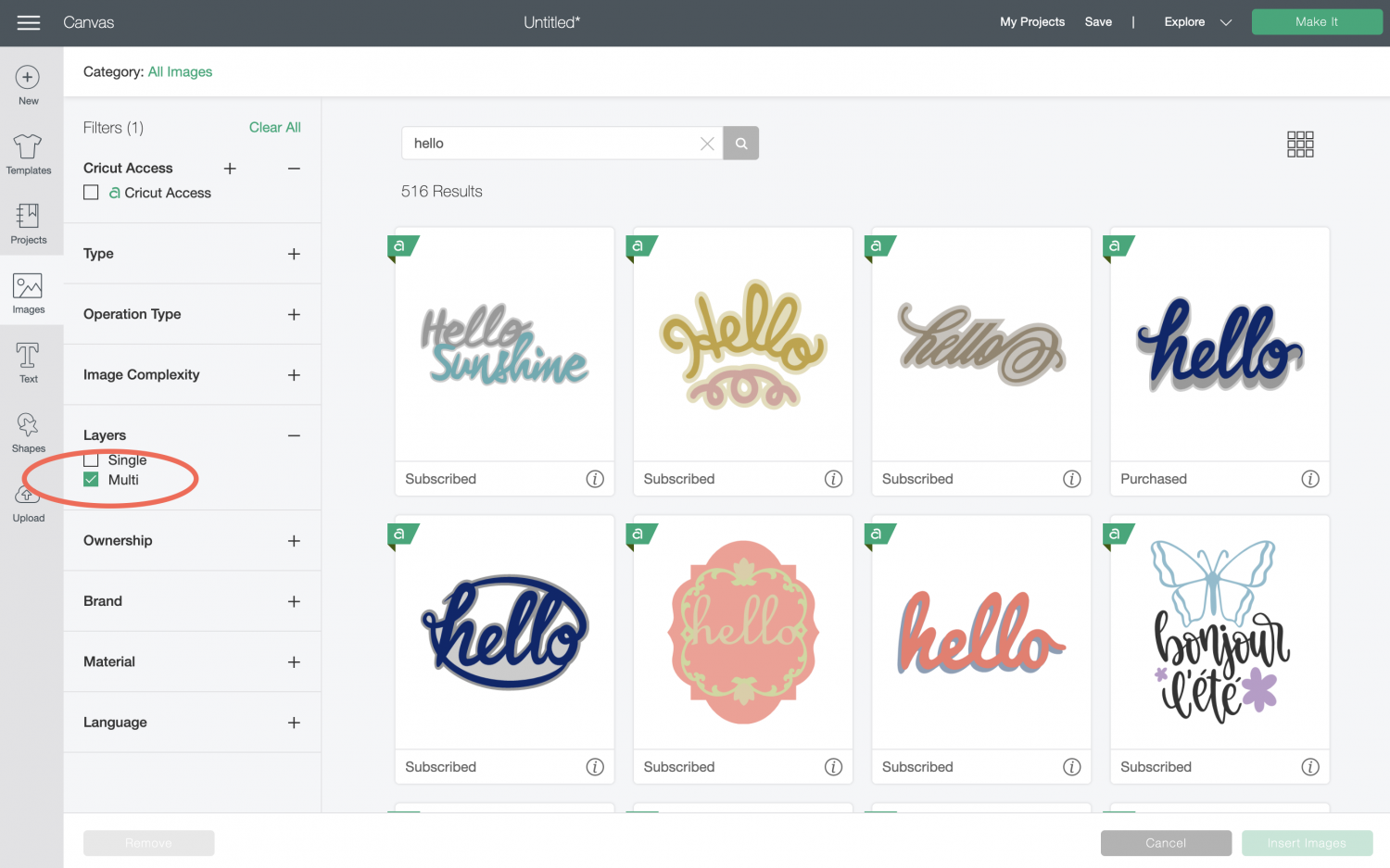 Cricut Design Space: Search results for HELLO in Image Library