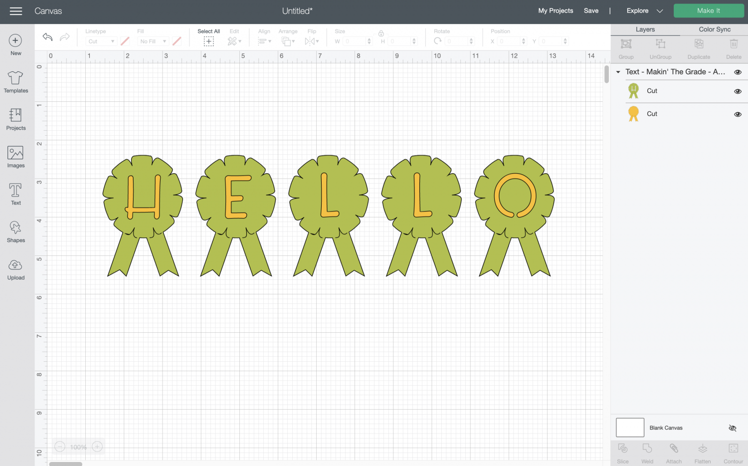 "Cricut Design Space: the word HELLO spelled out with ""award ribbon"" shaped font."