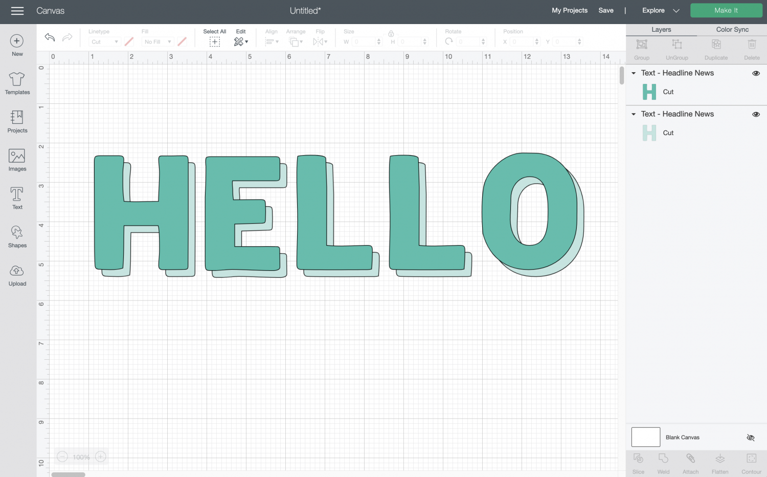 Cricut Design Space: HELLO layered to create a shadow