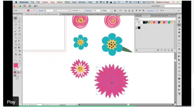 Skillshare: Draw flowers in Illustrator without the pen tool! | Katerina Deem
