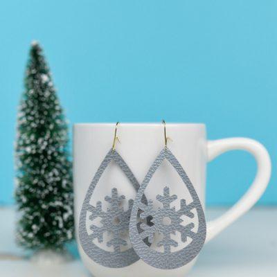 Snowflake Faux Leather Earrings