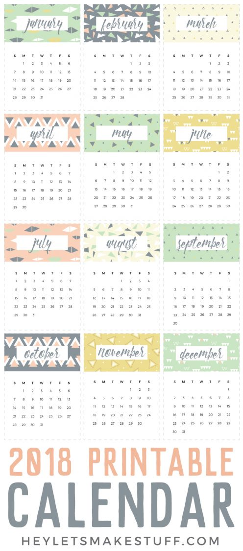 Printable Calendar  A Fun Freebie  Hey LetS Make Stuff