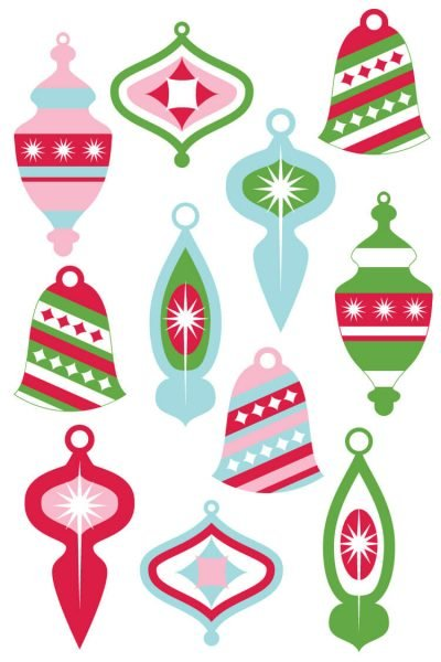 Vintage Christmas Ornaments Clip Art
