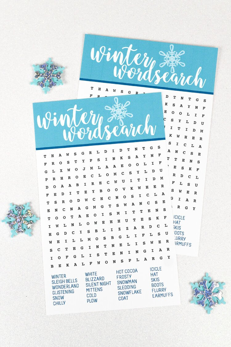 Winter Printable Word Search - Hey, Let\'s Make Stuff