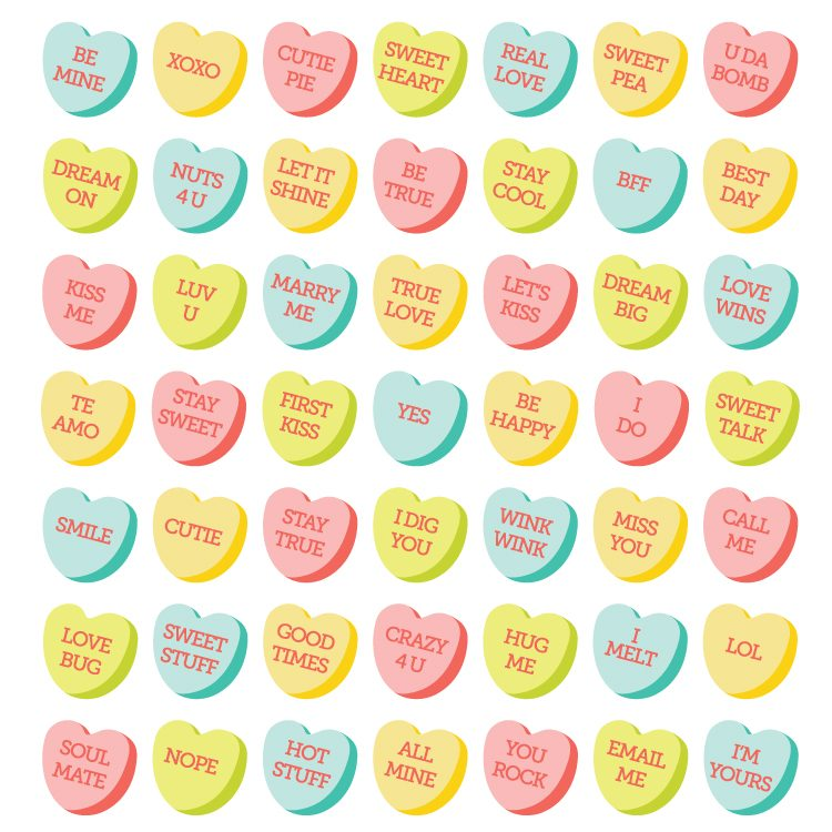 Delicious Conversation Hearts Clip Art And Cut Files Are A Yummy Addition To All Of Your