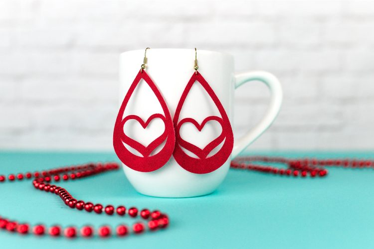 svg files for valentine's - heart suede earrings