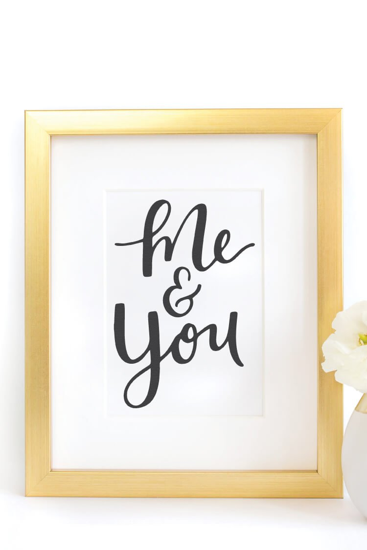 Download this sweet Me & You SVG! You'll love it for Valentine's Day projects, wedding decor, nursery artwork, and so much more!