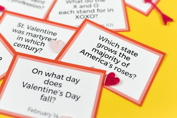Test your knowledge of all things St. Valentine, Cupid, chocolate, and hearts with this fun printable Valentine's Day Trivia! Perfect for trivia night or as a fun Valentine's Day activity. Show off your smarts or learn something new!