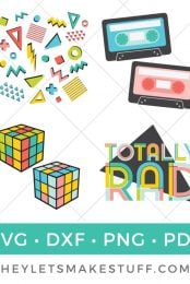 Bring back the totally rad 80s with this collection of retro SVGs! Give your t-shirt, backpack and just about anything that 80's feel. Awesome!