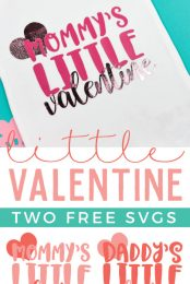 Get the free cut files to make these adorable Mommy and Daddy's Little Valentine onesies, plus learn some tips and tricks for layering different types of vinyl using the Cricut EasyPress!