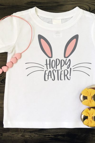 This adorable Hoppy Easter SVG is just the thing for Easter onesies and kids' t-shirts, as well as on cute Easter decor and Easter basket stuffers!