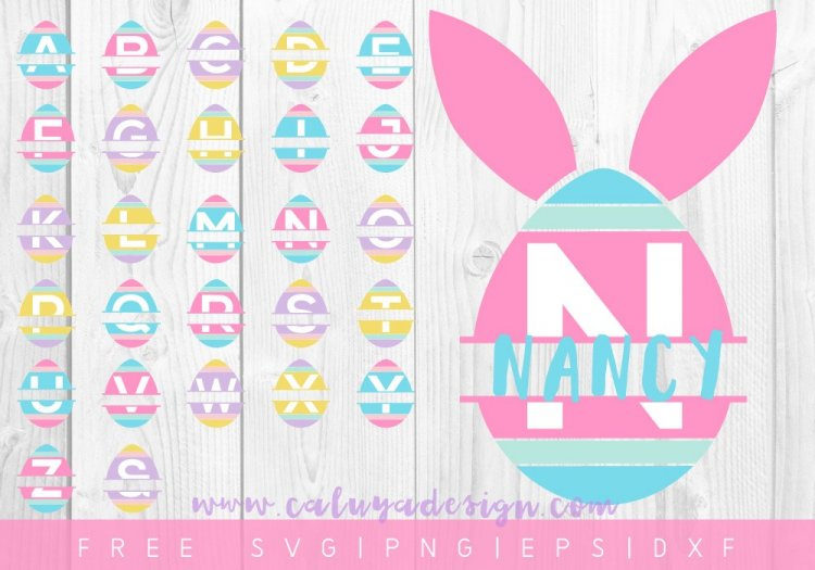 """Easter Egg Monograms"" I'm sharing my favorite FREE SVGs for Easter and spring! All the colors, designs, decor, and adorable characters you'll need for a fun and festive season."