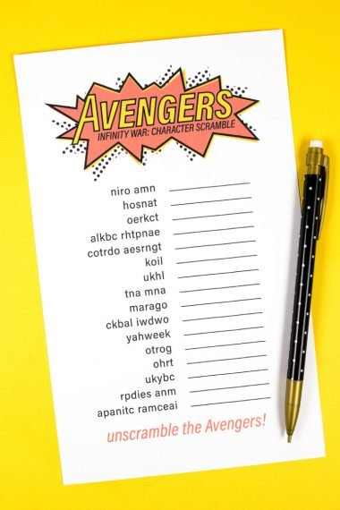 Are you ready for Avengers: Infinity War? Download this fun Avengers Infinity War game and test your skills at unscrambling each Avenger (and some of their foes!). A great Avengers party idea!