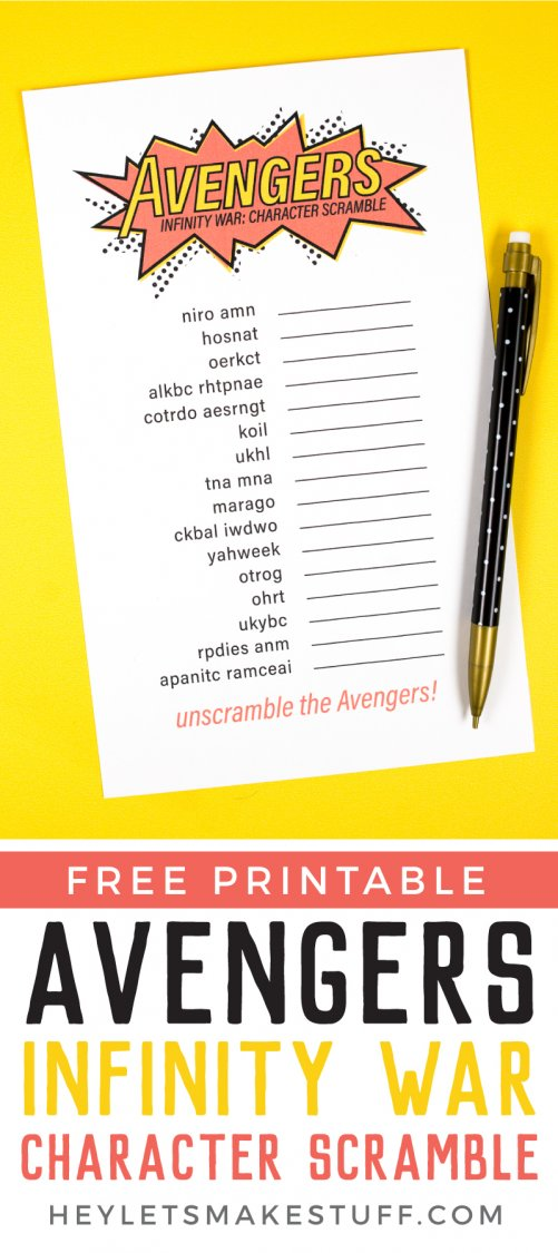 Free Printable Avengers Infinity War Game Character Scramble
